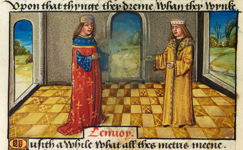 Translator addressing his master, indoors, Late 15th Century, source Wikimedia