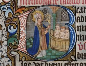 Saint Nicholas resurrecting the three pickled children. Source wikipedia.