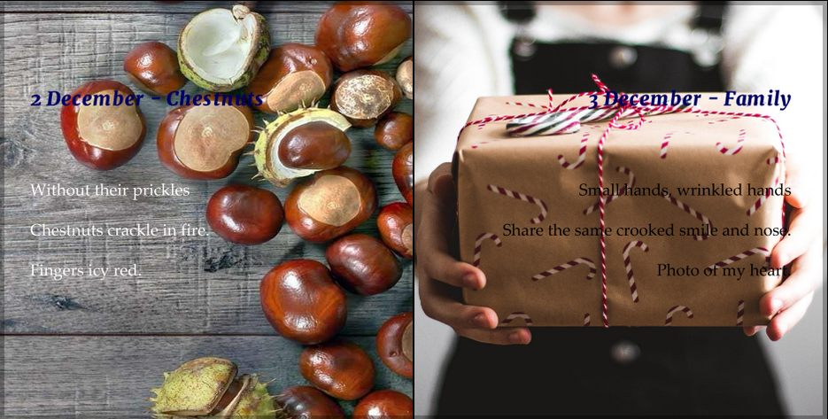 chestnuts, present tied with string. Christmas Tree and Saint Nicholas, two Christmas Haiku