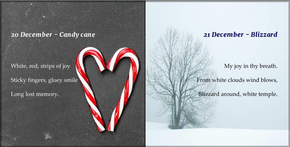 Christmas candy cane, serene winter scene haiku