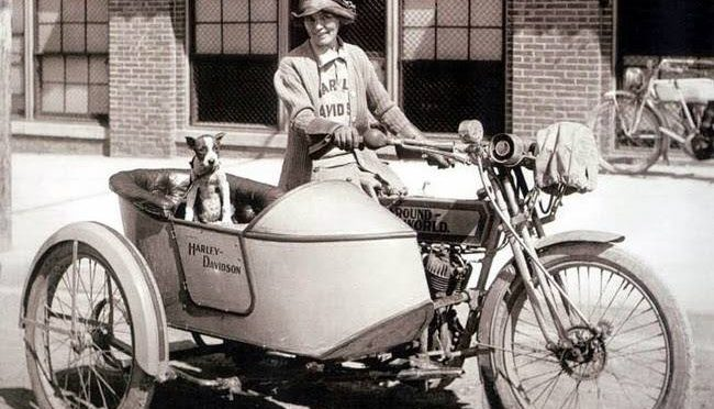 A Harley-Davidson, Brave Della Crewe and Trouble the Dog via @PatFurstenberg, #travel, #adventure, #bravewomen, #dogs