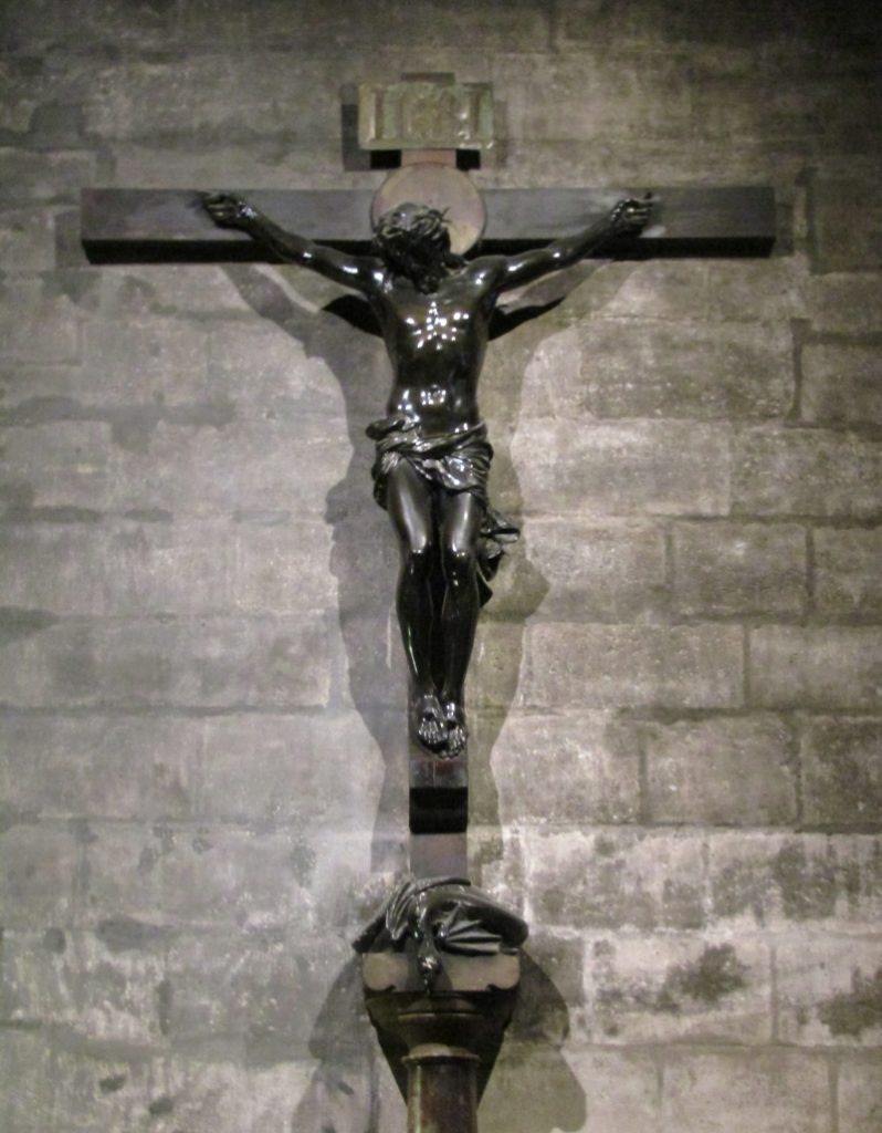 Notre Dame Cathedral -Christ on cross-great bronze crucifix was a gift from Napoleon III. photo by Lysandra Furstenberg