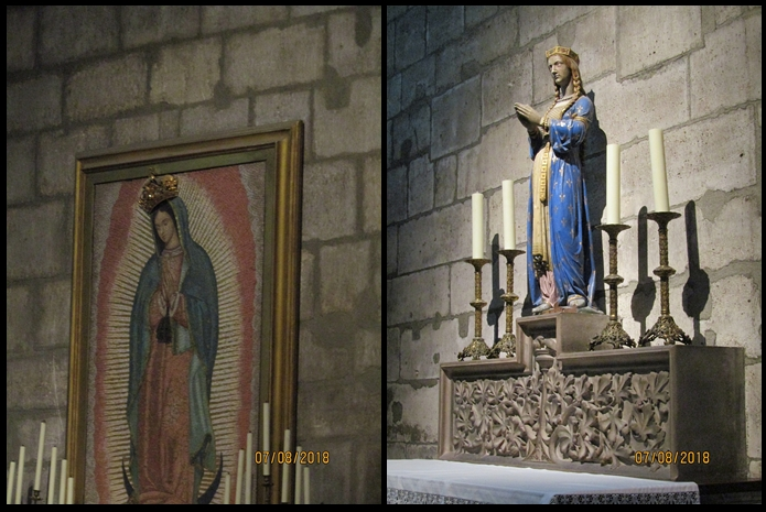 Notre Dame Cathedral - Virgin Mary icon and painted statue - photo by Lysandra Furstenberg