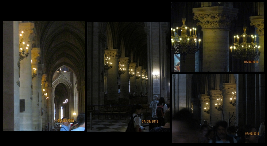 Notre Dame Cathedral - columns and chandeliers - photo by Lysandra Furstenberg