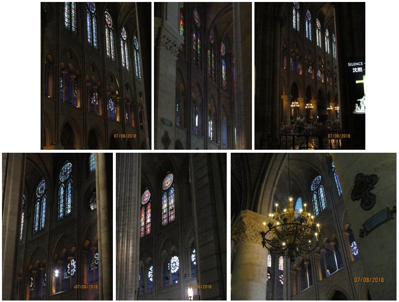 Notre Dame Cathedral stained glass windows along the North and South aisles