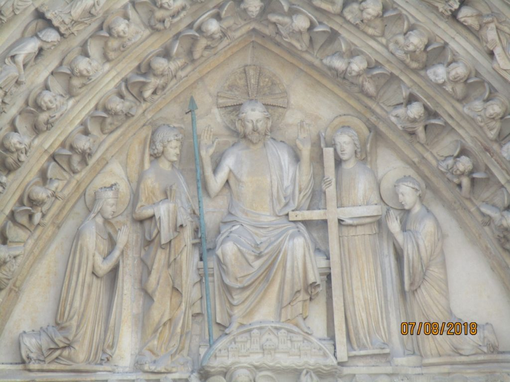 Notre Dame Cathedral - west entrance detail above main portal - photo by Lysandra Furstenberg