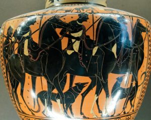 Riders and dogs, art by Leagros Group, Louvre. Source Wikipedia