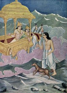 dog man art history, Yudhisthira with a dog as a chariot from Heaven arrives - source Wikimedia