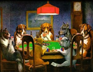"""""""Dogs Playing Poker"""" by Cassius Marcellus Coolidge, dog man art history"""