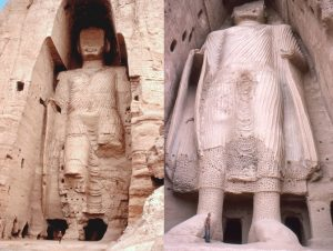 The two Buddhas of Bamyan - the taller and the smaller one, as they once stood since their construction around 500AD and before the Taliban attack in March 2001