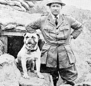 Dog Mascots of WW1 and Their Cute Faces. Gibby, the mascot of a Canadian regiment, and his C.O. The dog had been gassed twice, but still went into action.