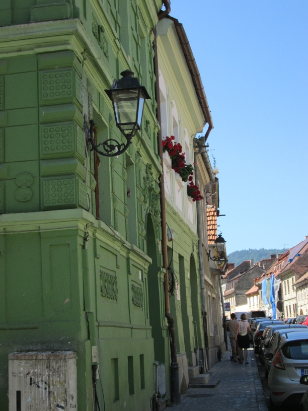 Green buildings in Brasov, lampshades, red carnations. Image by @PatFurstenberg
