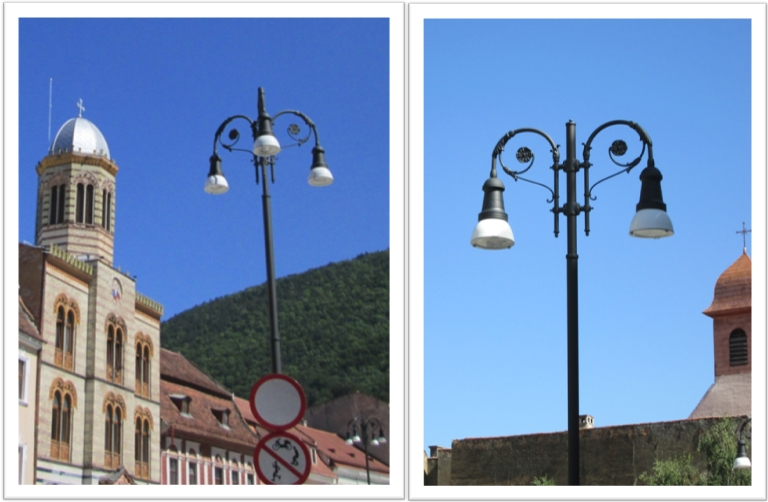 In Brasov Council Square, Piata Sfatului, light poles  are as pretty at bell flowers. Image by @PatFurstenberg