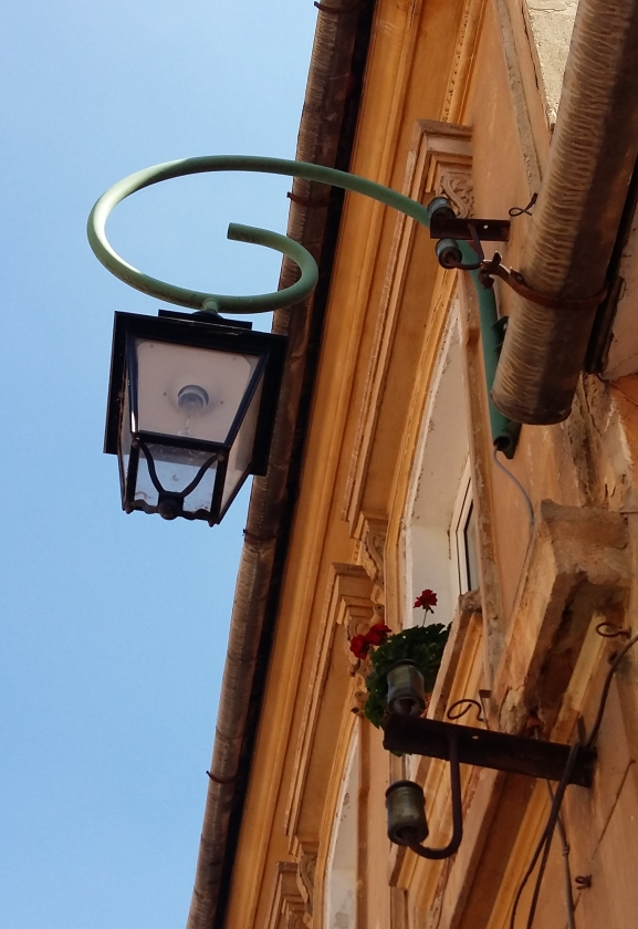 A classic street light and red carnations in Brasov, Romania. Image by @PatFurstenberg