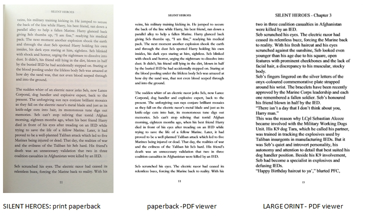 Compare text from Silent Heroes - print paperback, paperback PDF viewer, Large print PDF viewer