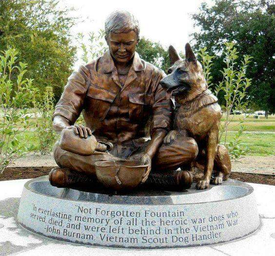 War Dogs History after WW2 to the Fall of Berlin Wall, Vietnam - Memorial Honoring the War Dogs who served in the Vietnam Nam War. Many lost their lives. Many had to be left behind. Source Imgur