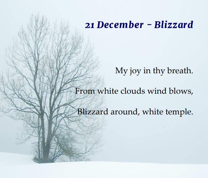 Christmas haiku, blizzard, white temple