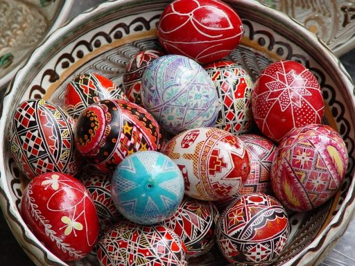 Orthodox Easter red and white painted eggs, symbolism