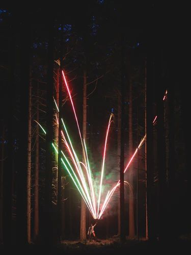 Maroons Autumn's chocolates. person holding fireworks in a forest.