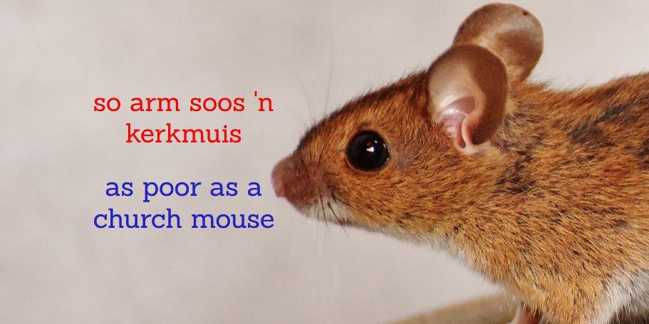 Afrikaanse vergelykings Afrikaans simile, so arm soos 'n kerkmuis = as poor as a church mouse