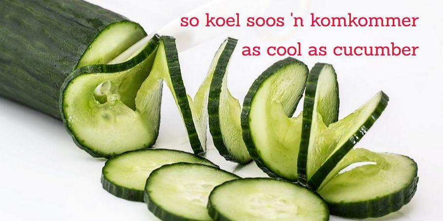 so koel  soos 'n komkommer = as cool as cucumber, Afrikaanse vergelykings Afrikaans simile