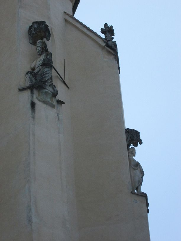 The Church on the Hill and statues guarding the church's roof