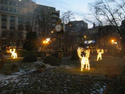 Christmas decorations in Cismigiu Park, Bucharest