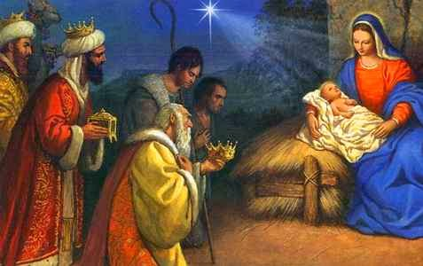 Oldest Christmas Carol. Wise Men and Infant Jesus in Manger