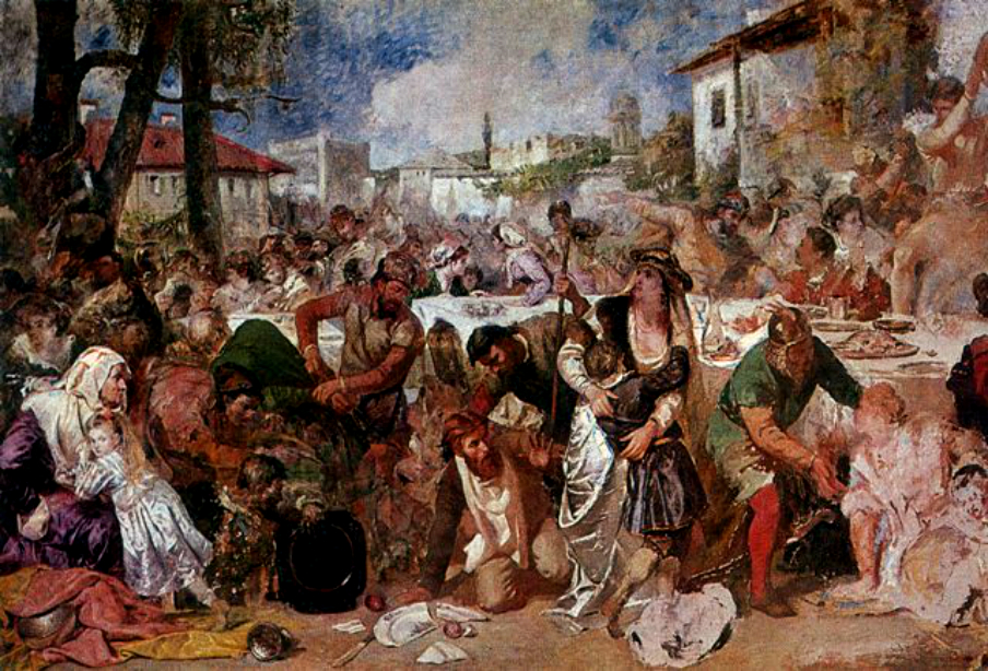 Vlad the Impaler - capturing boyars. Painting by Theodor Aman.  vlad medieval feast blood