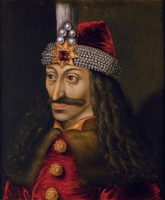 The portrait of Vlad the Impaler found in Ambras Castle portrait and painted in 1560, a copy of an original made during his lifetime