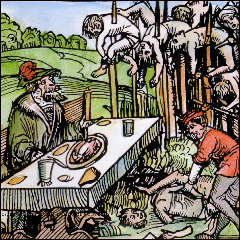 Vlad the Impaler depicted here as feasting among the impaled. A colorized rendering of the woodcut by Ambrosius Huber of Nuremberg (1499). NOTICE the blond beard - colours added much later.