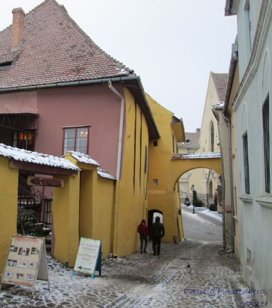 The back entrance in the house where Vlad the Impaler Vlad Dracul, was born
