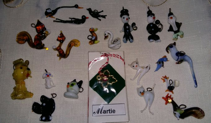Glass collection of Martisoare: dogs, squirrels, chimney sweep, penguins, parrots, swallow, cat, rooster, bird, swan, geese