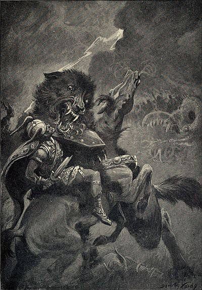 Past and Present Monsters of Folk Talesy, Odin and Fenris (1909) by Dorothy Hardy