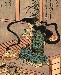 futakuchi-onna,  a Japanese mythological monster depicted as having two mouths
