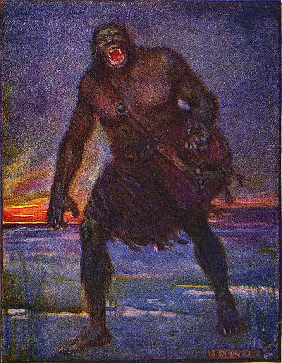 """An illustration of Grendel by J. R. Skelton from Stories of Beowulf. Grendel is described as """"Very terrible to look upon."""""""