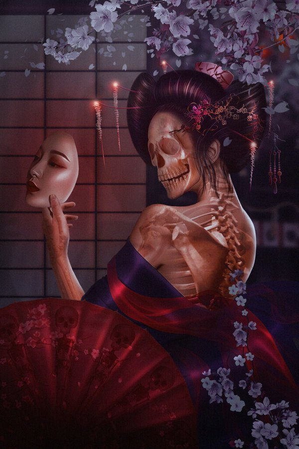 Past and Present Monsters of Folk Tales, Hone Onna by Anna Astrid