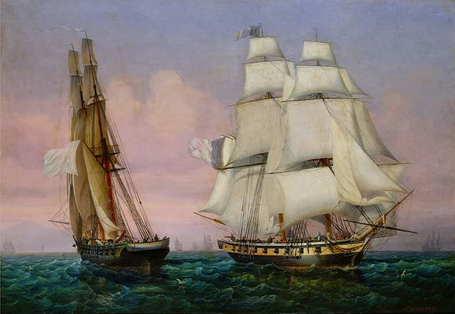 Napoleon's return from the Isle of Elba. Napoleon's ship Inconstant, on the right. Painting by by Ambroise-Louis Garneray