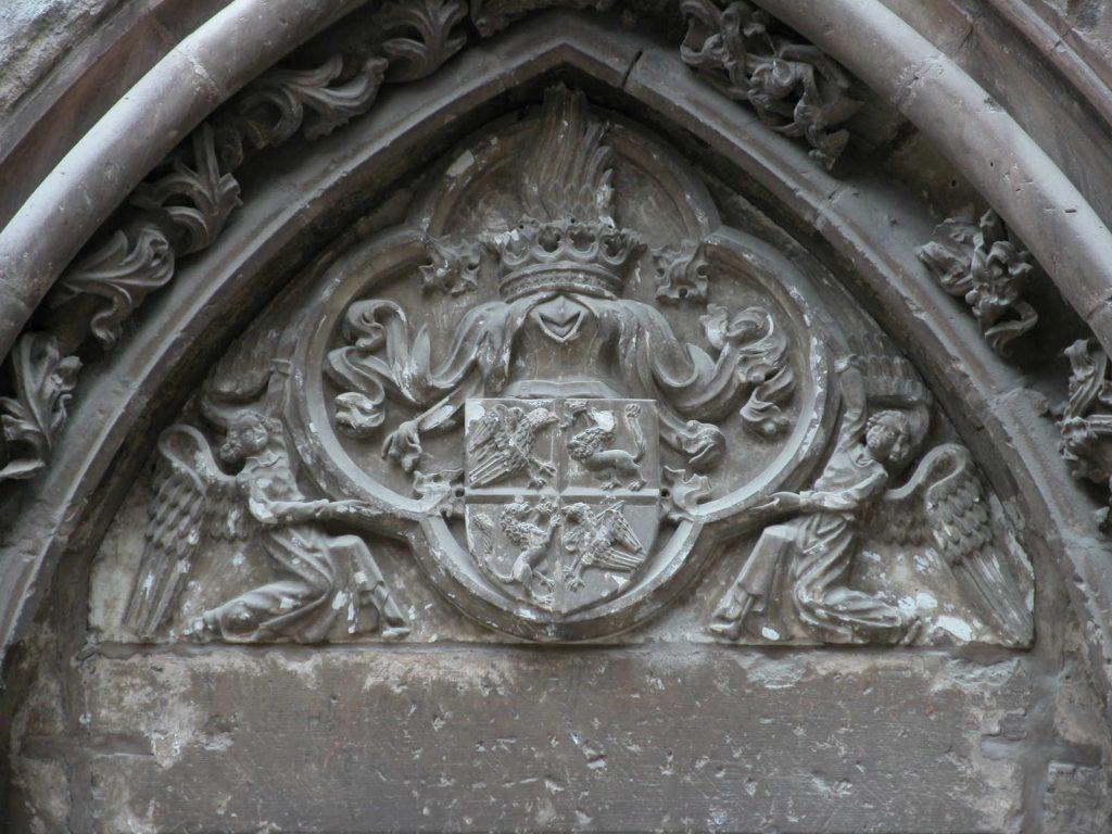 An Ancient Door Corvin Castle, Castelul Hunedoara Romania, Coat of Arms of Hunyadis