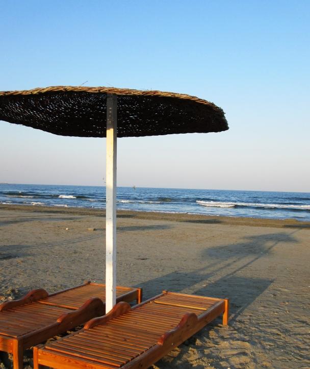 raffia umbrella on the beach