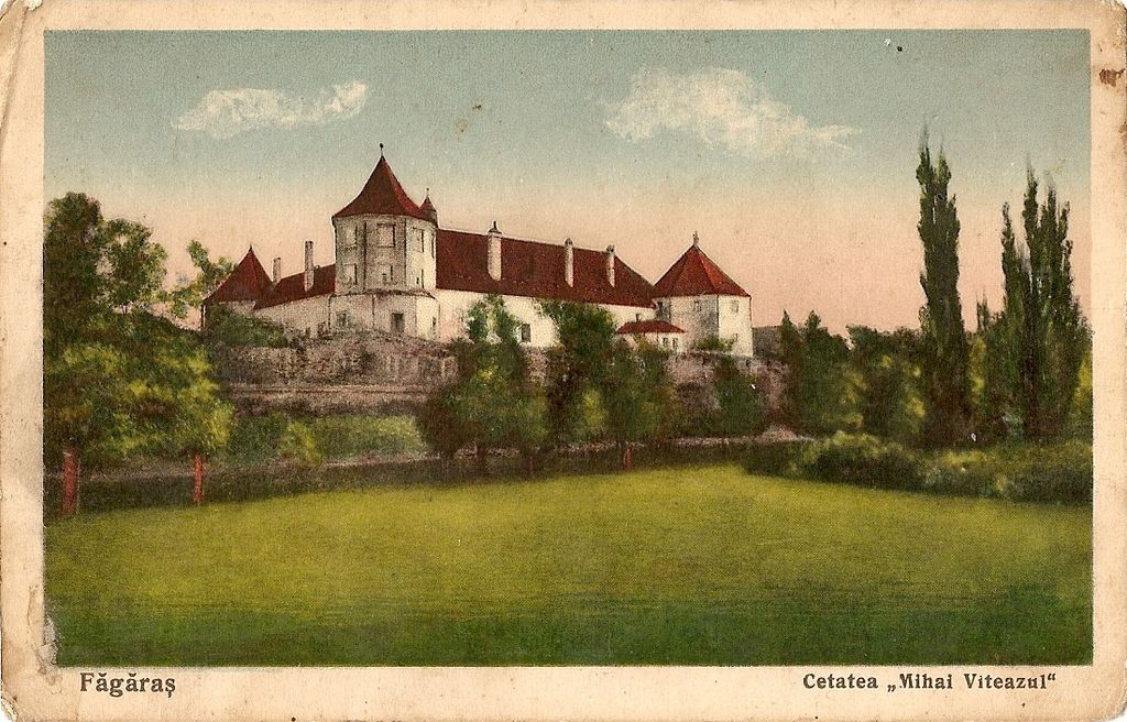 Făgăraş Castle, also know as Mihai Viteazul Fortress, in an inter-war postcard