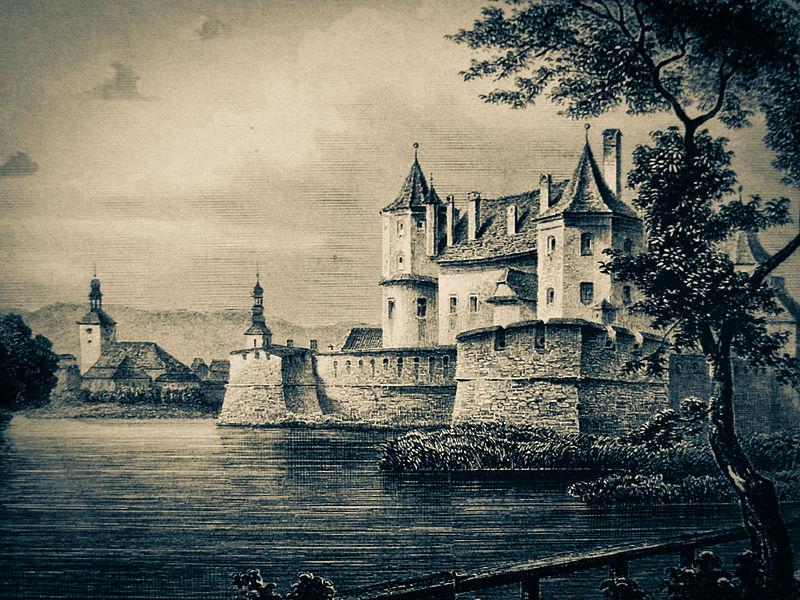 The Iron Maiden of Fagaras Castle, Engraving of the Făgăraș Citadel by Ludwig Rohbock (1883)