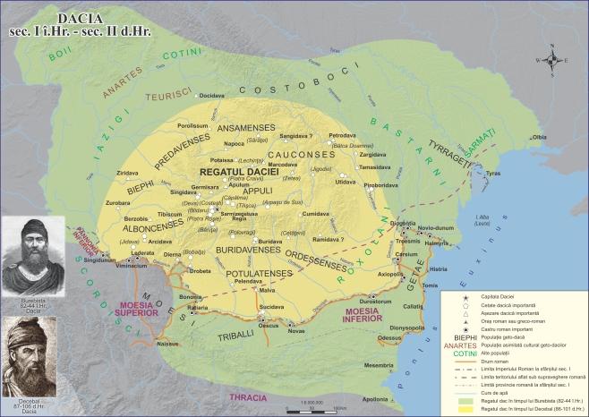 Stories and History of Transylvania, the Roman Dacia - map of Dacia during Burebista and Decebal, I BC - II AD