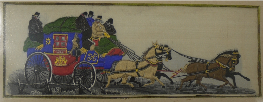 Incredible, Innovative and Infernal Bookmarks through History - Stevengraph showing the London and York Royal Mail Coach, silk, 1862