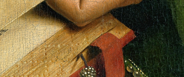 Incredible, Innovative and Infernal Bookmarks through History - A ribbon bookmark detail in a Van Eyck painting