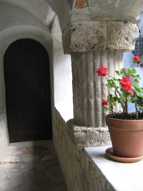 carnations on a balcony, Bran Castle history, Thursday Doors