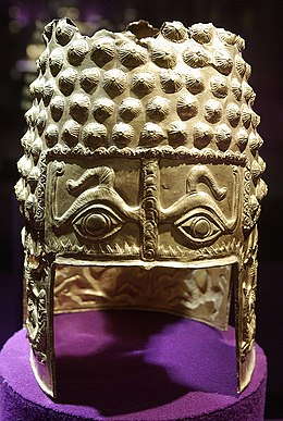 Dacian Kingly Helmet of Coțofenești, Prahova County, Romania, approx. 400BC, weighing 770 grams, made of massive gold.