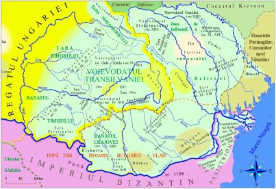 Hungarian conquest of Transylvania - Romanian territory IX - XIII centuries. We can see in the middle the Dutchy (Voievodatul) of Gelou / Gyula. Left is Dutchy of Menumorut and below it is Dutchy of Glad / Aftum.