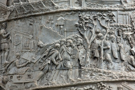 Greed, of the Roman Kind, 100 words story - Scene from Trajan's Column in Rome, The Burning of a Dacian Town