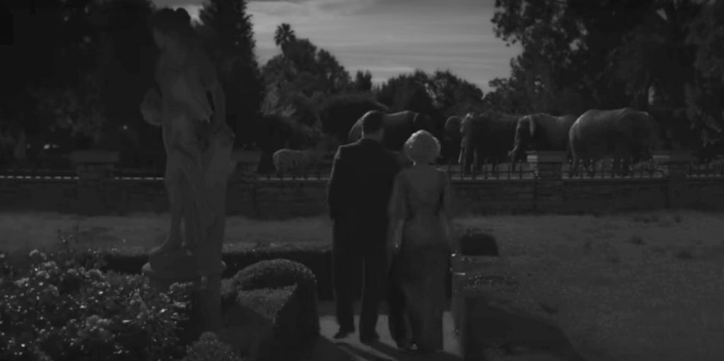 Symbols and Symbolism in Movie Mank, Mank and Marion enjoy a Moonlight Stroll through Hearst's Zoo Garden